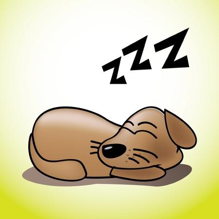 dog run: cute happy sleeping puppy illustration