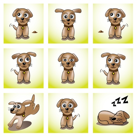 dog run: nine frames with cute puppy illustration