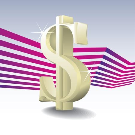 dolar: Signo de dólar aislado en el gradiente de fondo - ilustración