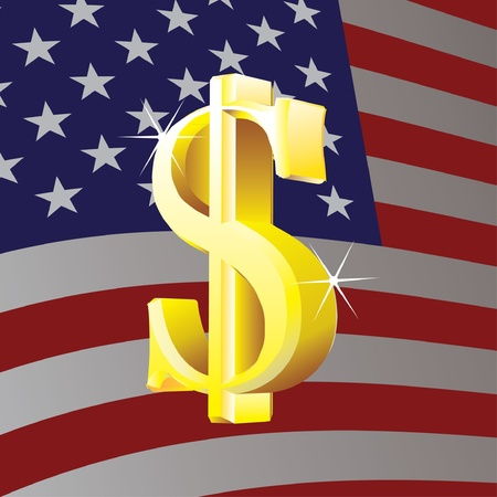 Dollar sign on us flag background - illustration Vector