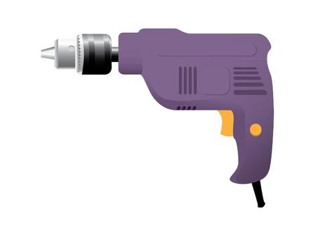 drill: the electric drill on white background
