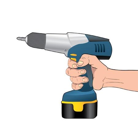 hardware tools: Blue Cordless Drill in hand - illustration Illustration