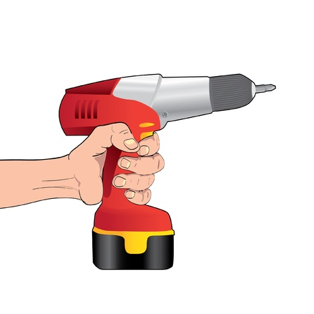 drill bit: Red Cordless Drill in hand - illustration