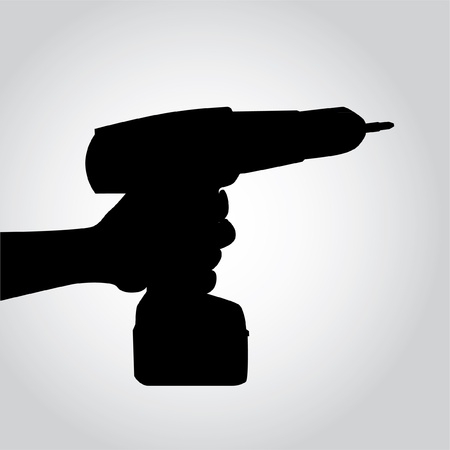 drill bit: Silhouette Cordless Drill in hand - illustration Illustration