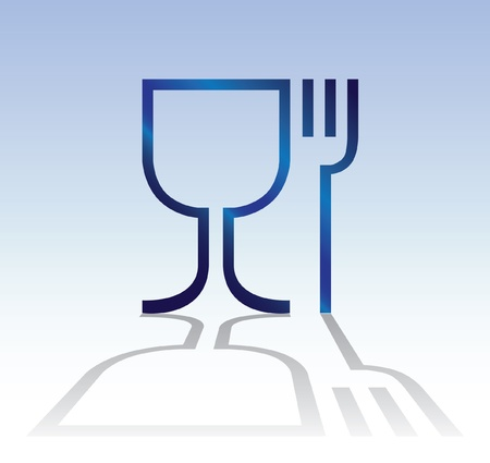 dine: eat drink symbol with shadow - illuatration