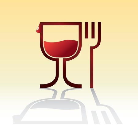 cubiertos de plata: comer beber s�mbolo con el vino - ilustraci�n