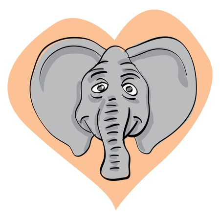funny elephant head in heart - illustration Vector