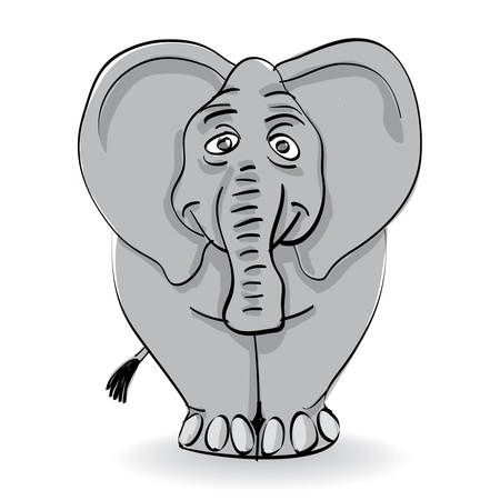 funny grey elephant isolated - illustration Vector