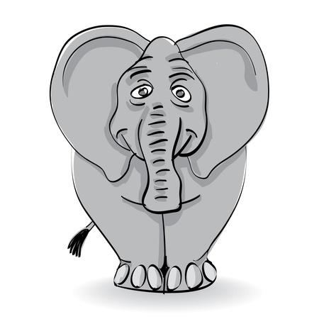 funny grey elephant isolated - illustration Stock Vector - 11496456