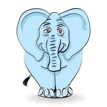 funny blue elephant isolated - illustration Vector