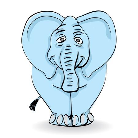 funny blue elephant isolated - illustration