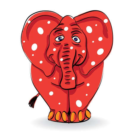 elephant trunk: funny red elephant with white spots - illustration