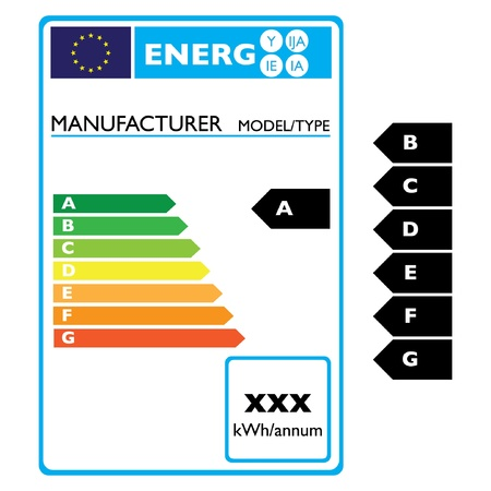low cost: energy effiency label electro - illustration