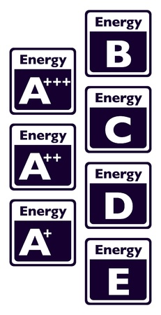 energy efficient: set of energy class tag - illustration Illustration