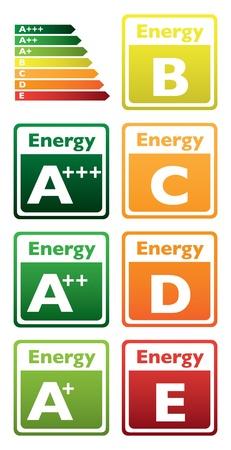 eficiencia energetica: conjunto de la etiqueta energ�tica de clase - ilustraci�n Vectores