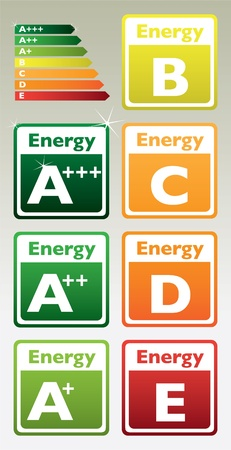 set of energy class tag - illustration Stock Vector - 11496394