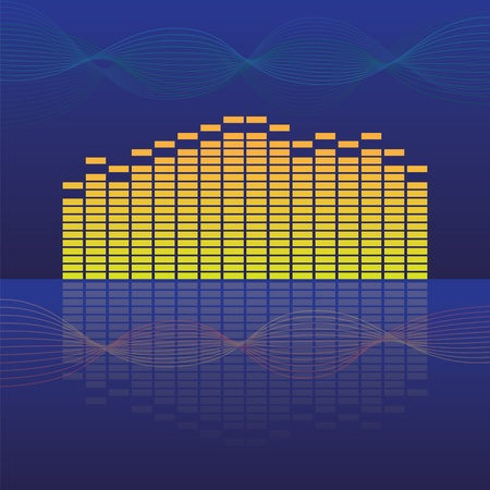 16 band equalizer on abstract background - illustration Vector