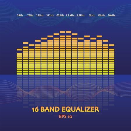 16 band equalizer in   illustration Vector