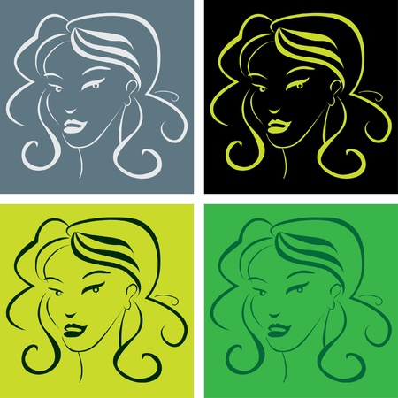 warhol: girl face in popart style - illustration