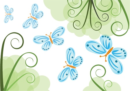 ancestors: background with butterflies vector illustration