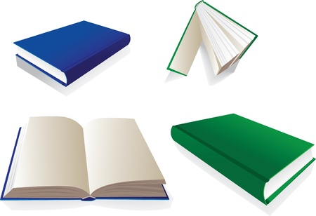 Books from several perspective - illustration Vector