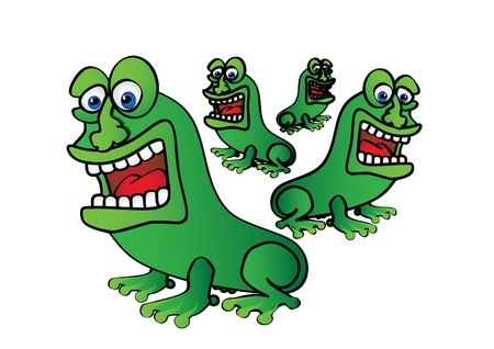 four cute green frogs - illustrated Vector