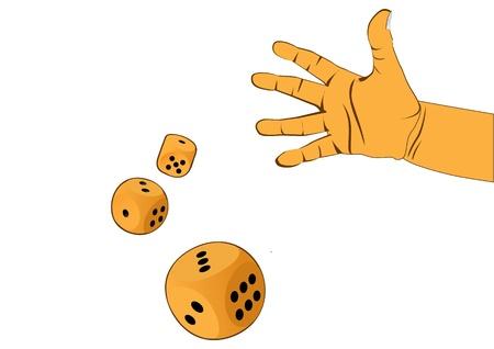 hand and three wooden dices - illustration Illustration