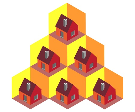 Isometric houses in cells - illustration Stock Vector - 11496763
