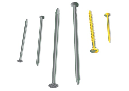 small tools: Nails and screws - illustration Illustration