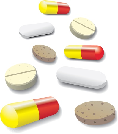 some pills and tabets - illustration Vector
