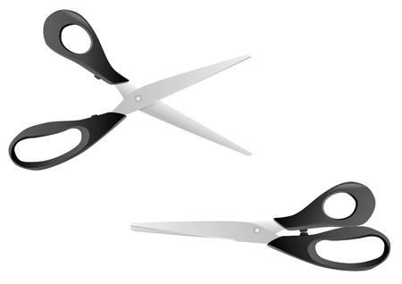 craft supplies: Scissors open close realistic - illustration
