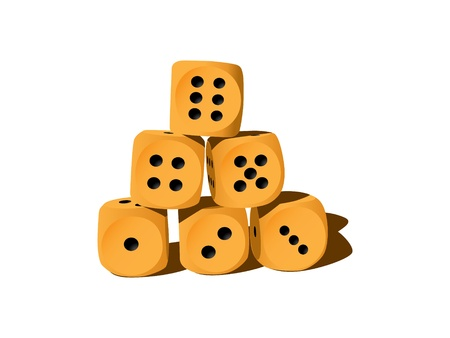 six objects: Six wood playing dices - illustration