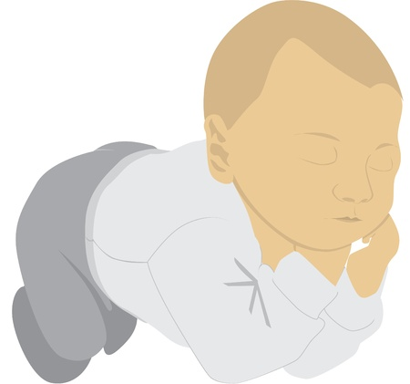 sleeping child dreaming - illustration Vector