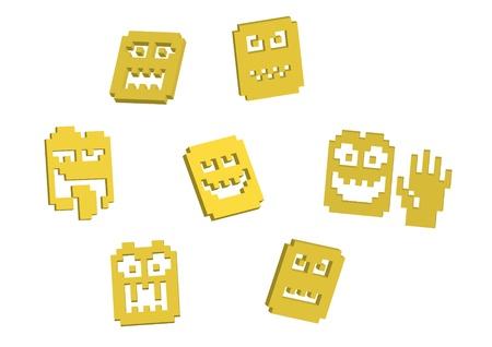 3D pixel yellow smilies - illustration Vector