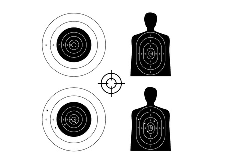 game gun: unused and set the targets - illustration Illustration