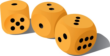 2 objects: three wood playing dices - illustration