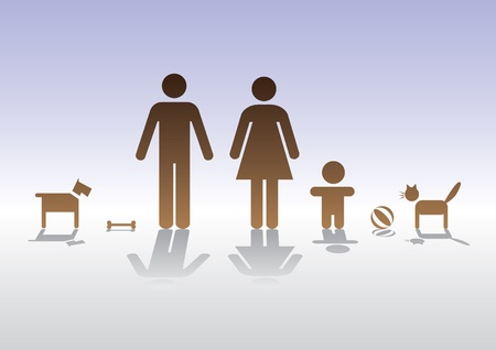 male figure: basic family man woman baby  cat and dog - illustration Illustration