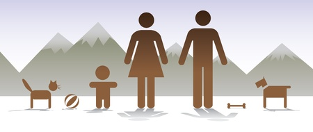 family with dog: basic family with dog and cat - illustration