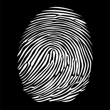 fingerprint in negative detailed illustration Vector