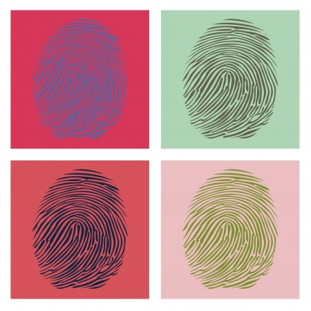 warhol: Four fingerprints in Warhol style illustration