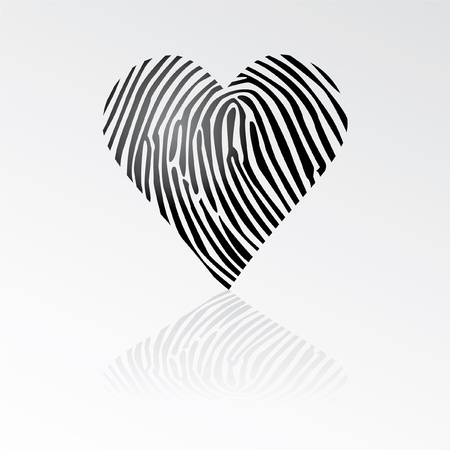 fingerprint card: fingerprint heart with shadow - isolated illustration Illustration