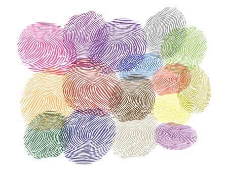 thumb print: illustration of finger prints in various colors