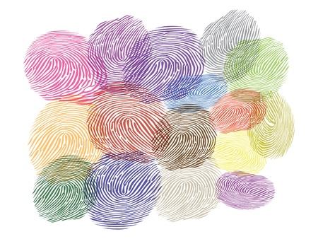 finger prints: ilustraci�n de las huellas dactilares de varios colores
