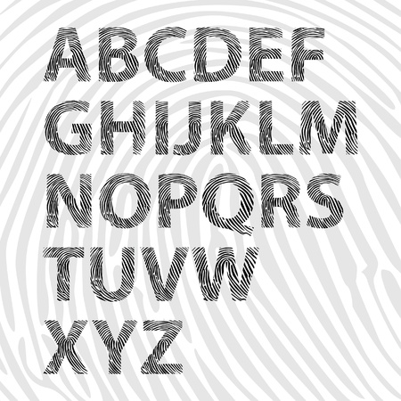 fingerprint alphabet letters - illustration Vector