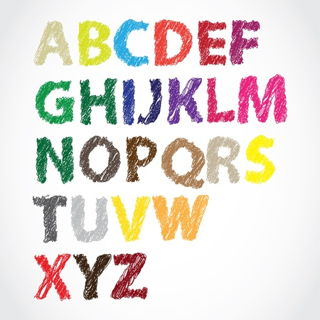 hand lettered color alphabet