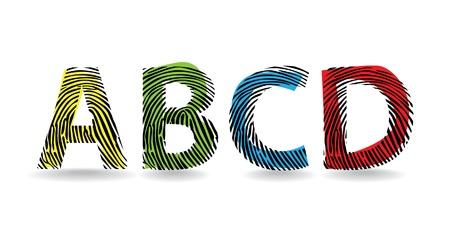 color fingerprint alphabet letters - illustration Stock Vector - 11658674