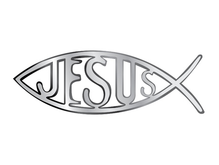 silver christian fish symbol - illustration Vectores