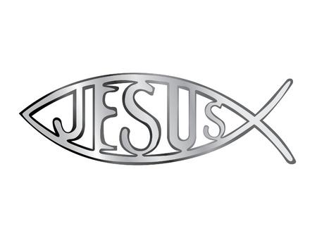 pez cristiano: plata, s�mbolo del pez cristiano - ilustraci�n