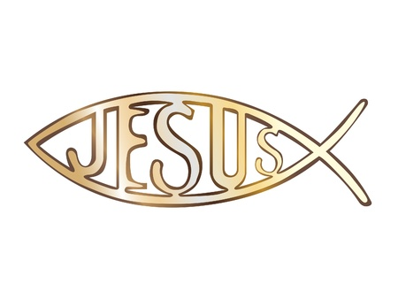 icthus: christian fish symbol - illustration Illustration