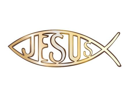 pez cristiano: Símbolo cristiano de pescado - ilustración